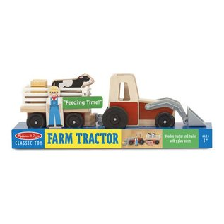 Melissa & Doug Classic Wooden Farm Tractor Play Set