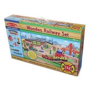 Melissa & Doug Wooden Railway Set