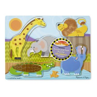 Melissa & Doug Zoo Animals Touch and Feel Puzzle - 5 Pieces