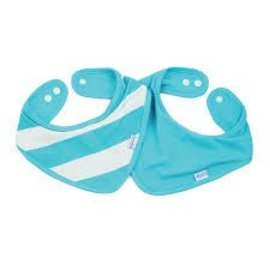 Bumkins Bumkins Waterproof Bandana Bibs 2 Pack Blue Stripe