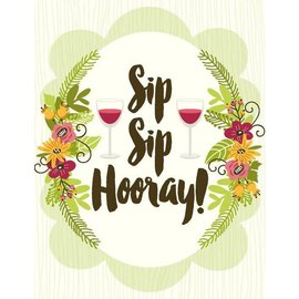 Yellow Bird Paper Greetings Sip Sip Hooray Card