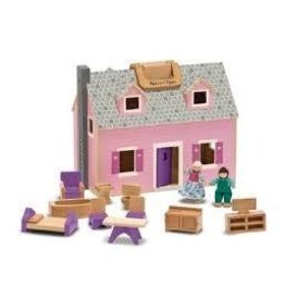 Melissa and Doug Melissa and Doug Fold and Go Wooden Dollhouse Play Set