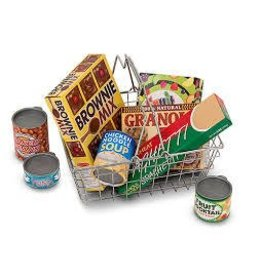 Melissa and Doug Melissa and Doug Metal Grocery Shopping Basket with Pretend Food