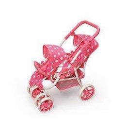 Badger Basket Co Badger Basket Double Stroller Pink Dot Reversible