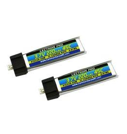 Common Sense RC Lectron Pro 3.7V 220maH 45C Lipo Battery 2 pack
