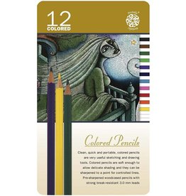 C2F Inc Colored Pencils 12 Colors in a Tin
