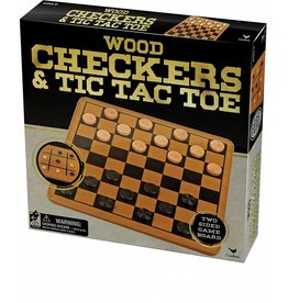 Toysmith Cardinal Games Wood Checkers and Tic Tac Toe
