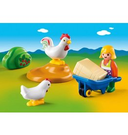 Playmobil Playmobil 1 2 3 Farmers Wife with Hens
