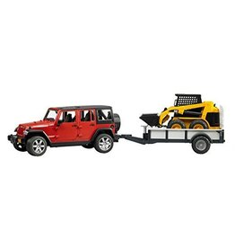 Bruder Bruder Jeep Wrangler Unlimited Rubicon with Trailer and CAT Skid Steer