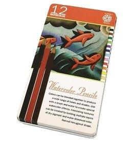 C2F Inc Watercolor Pencils 12 Piece Tin
