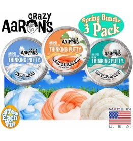 Crazy Aarons Puttyworld Thinking Putty Mini 3 Pack Blue Skies Orange Blossom Speckled Egg