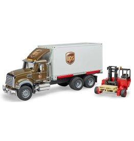 Bruder NEW MACK Granite UPS Logistics Truck With Forklift