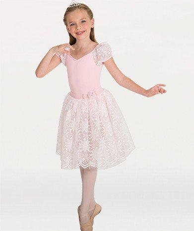 Body Wrappers 2-in-1 Lace Puff Sleeve Leotard 2221