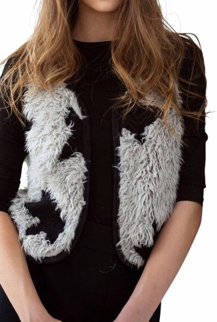 Oly & Elizabeth Black and White Fur Vest