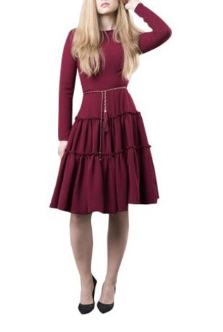 Apparalel Burgundy Tiered Crepe Dress