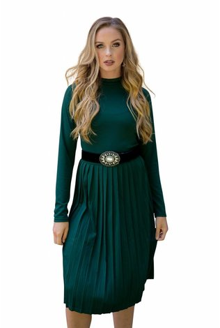 Deela Pleat Dress Hunter