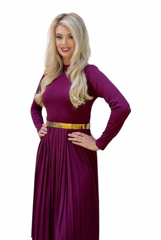 Deela Pleat Dress Berry
