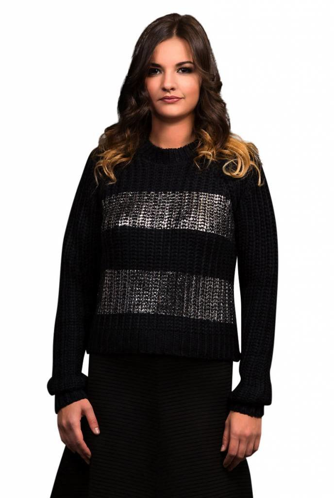 Bianco Nero Black Cable Knit Sweater with Silver Stripes