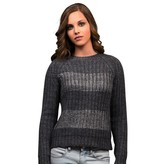 Bianco Nero Gray Cable Knit Sweater with Silver Stripes