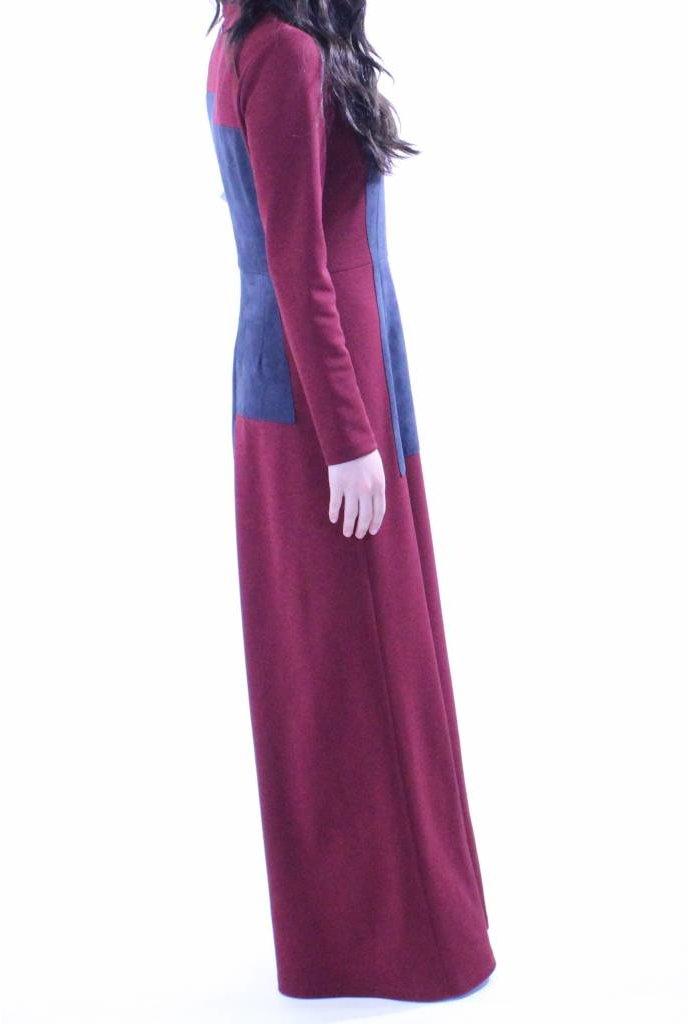 AC+CO Suede Patch Burgundy Maxi Dress