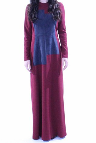 AC+CO Suede Patch Burgundy Maxi Dress