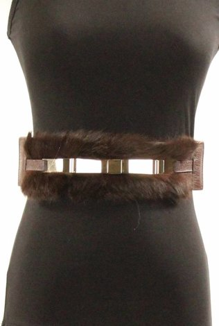 Chocolate Brown Belt with Metal Bow