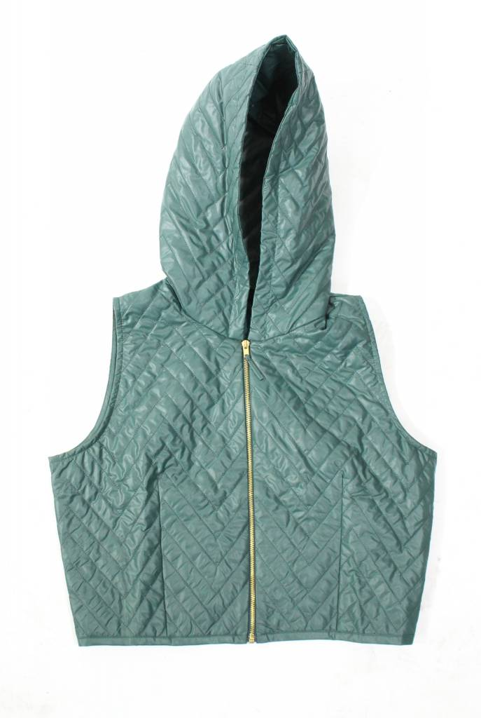 Ermana Green Quilted Vest with Hoodie 50% OFF!
