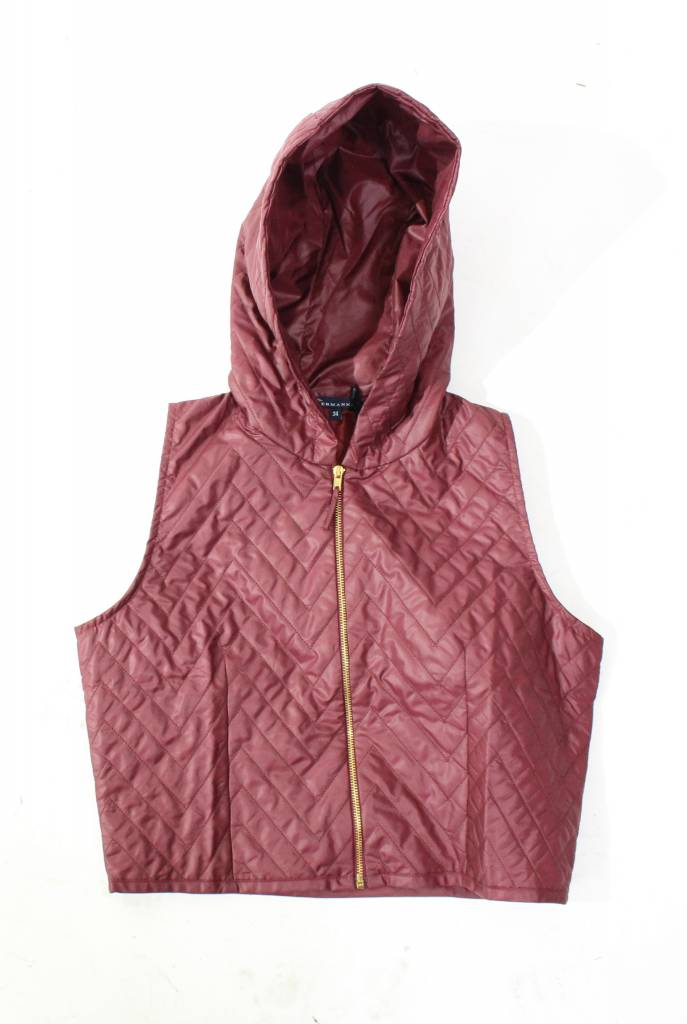Ermana Plum Quilted Vest with Hoodie 50% OFF!