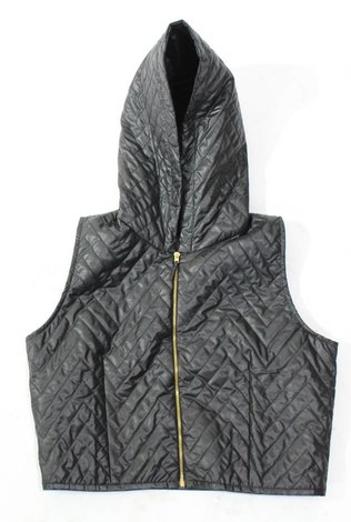 Ermana Black Quilted Vest with Hoodie 50% OFF!