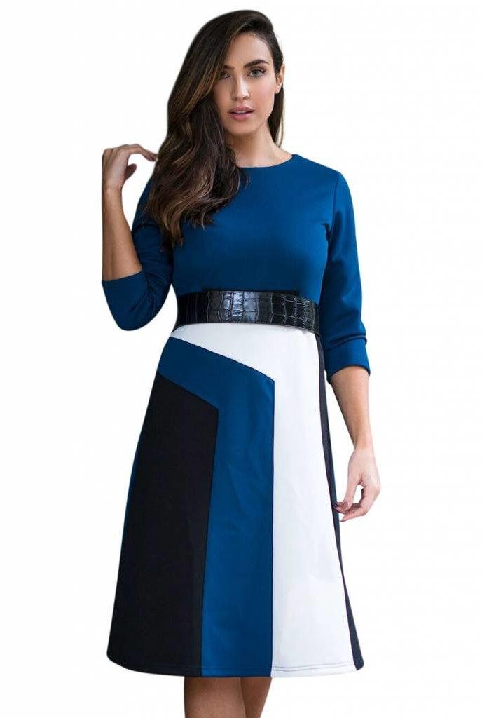Oly & Elizabeth Solid and Stripe Dress