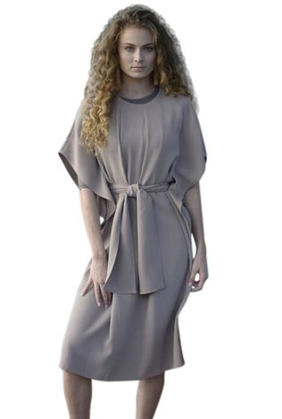 Caveleir Crepe Tie Front Dress Tan