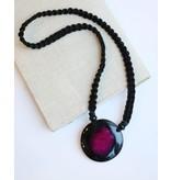 Sylca Crystal Resin Pendant Necklace