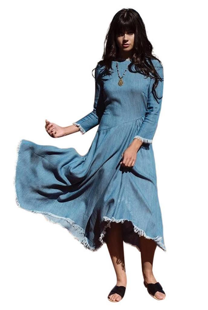 Pashmina Light Wash Frayed Edge Dress