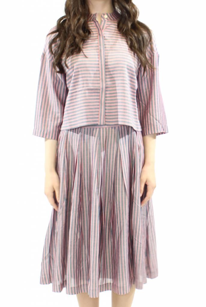 FRNCH Striped Crop Shirt