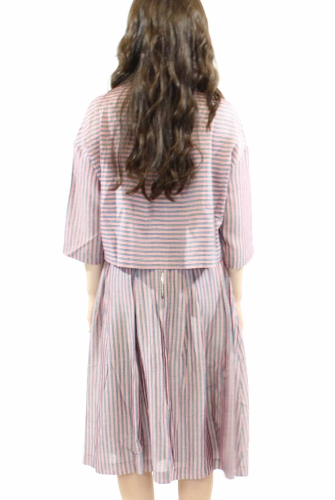 FRNCH Striped Crop Shirt