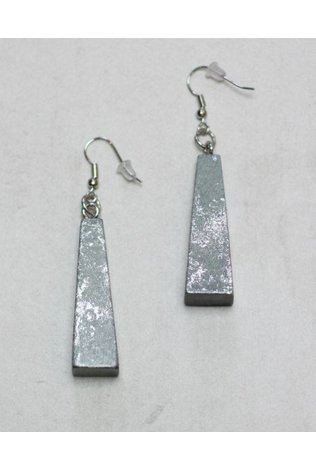 Sylca Grey and Silver Modern Wood Earings