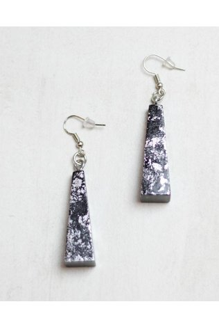 Sylca Black and Silver Modern Wood Earings