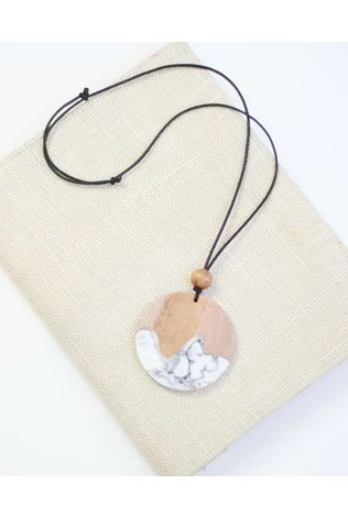 Sylca Marble and Wood Pendant Necklace