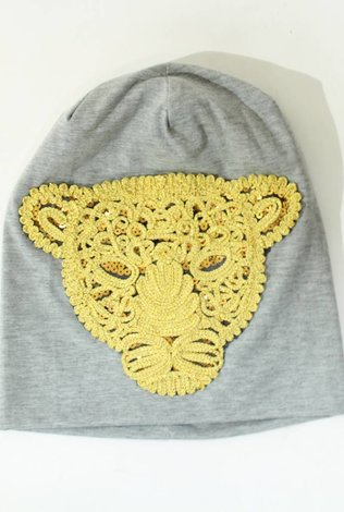 Sheek Lion Beanie Light Gray