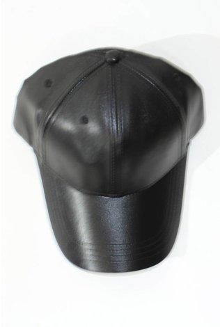 Sheek Leather Cap Black