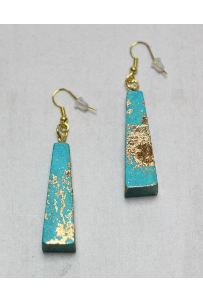 Sylca Teal and Gold Wood Earrings