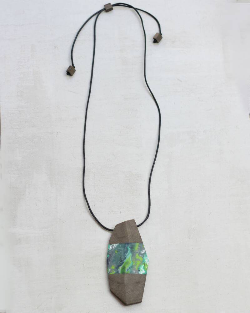 Sylca Assymetrical Wooden Necklace