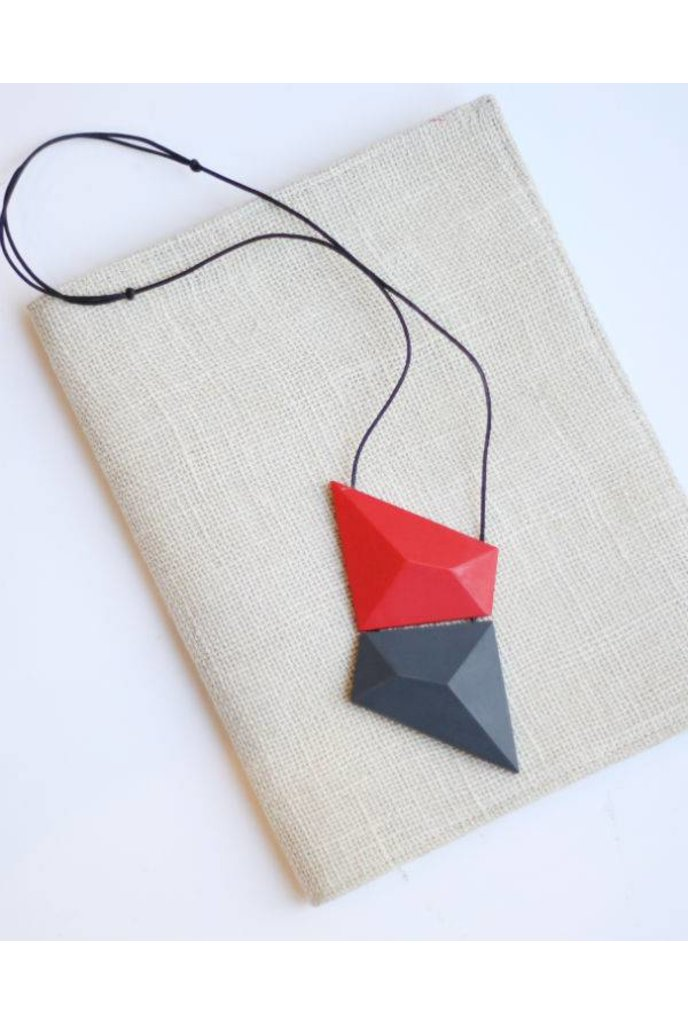 Sylca Red And Charcoal Geometric Necklace