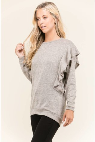 Sheek Knit Ruffle Top