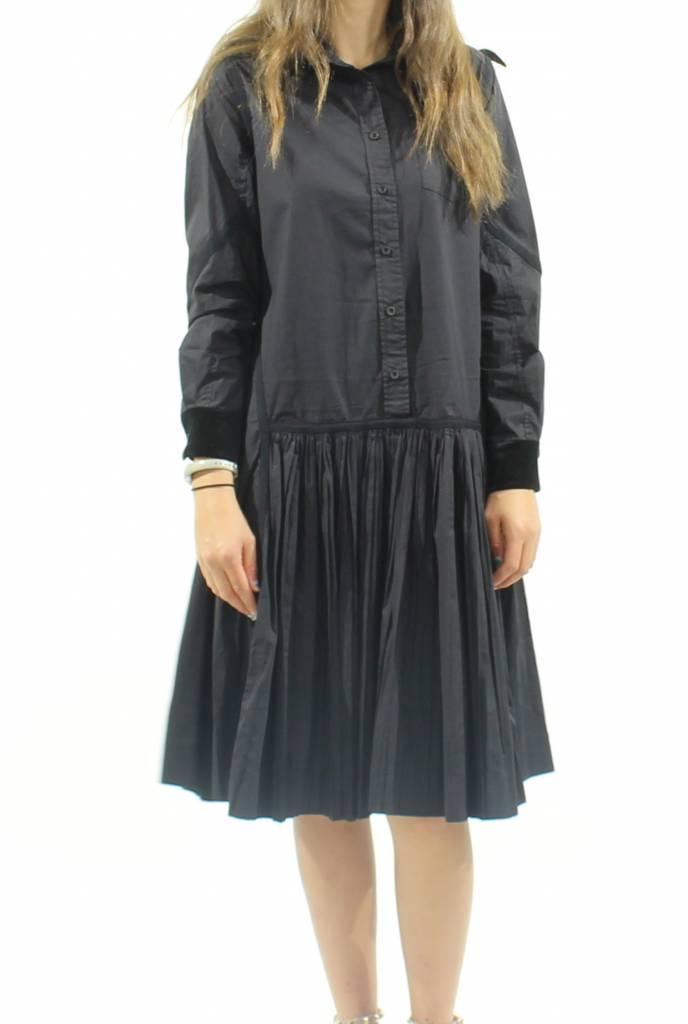 MW Velvet Collared Shirt Dress