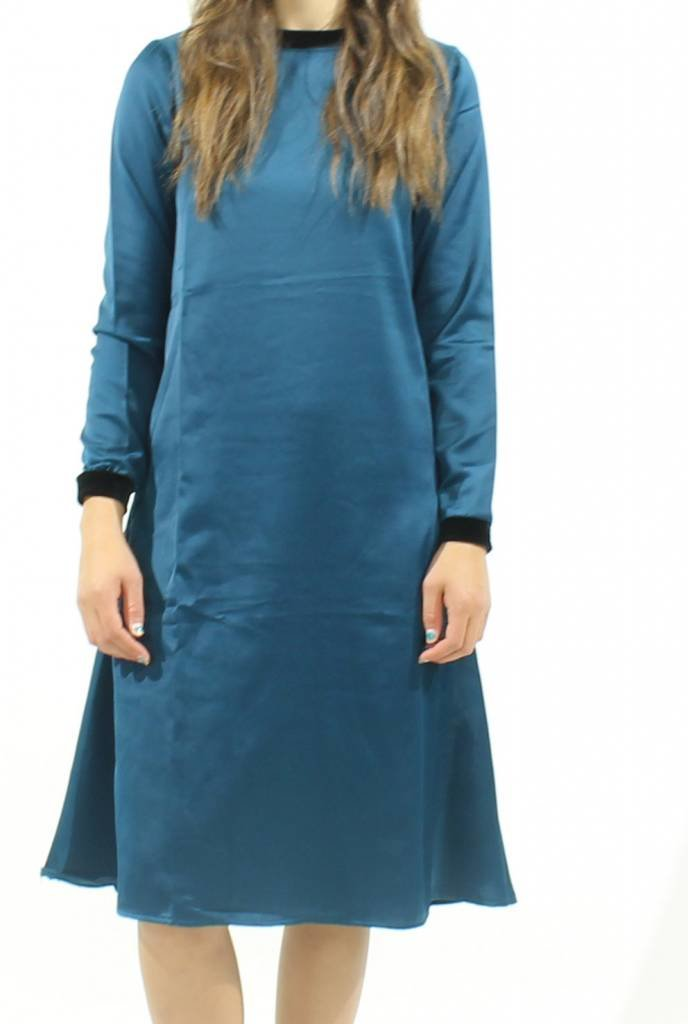 MW Velour Trim Silk Dress