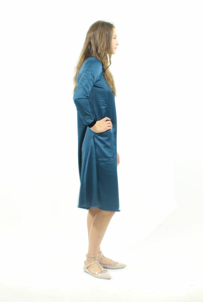 MW Velour Trim Silk Dress