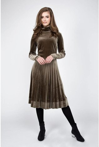 Maple and Cliff Olive Velvet Dress