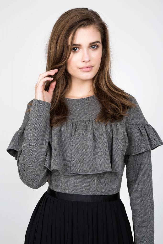 Maple and Cliff Grey Ruffle Top