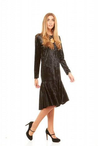 Bella Donna Crushed Velvet Ruffle Dress